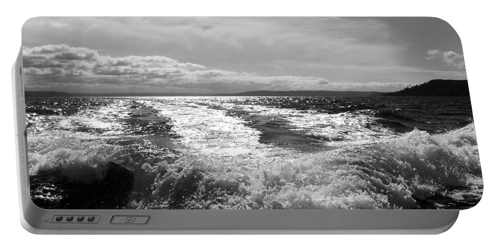 Puget Sound Portable Battery Charger featuring the photograph In The Wake In Black And White by Jeanette C Landstrom