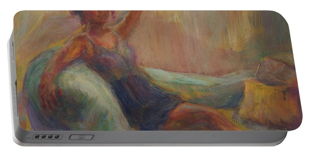 Woman Portable Battery Charger featuring the painting In The Window Light by Quin Sweetman