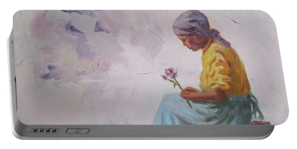 Abstract Portable Battery Charger featuring the painting In Thought by Yvonne Ankerman