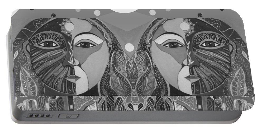 Figurative Abstraction Portable Battery Charger featuring the digital art In Unity And Harmony In Grayscale by Helena Tiainen