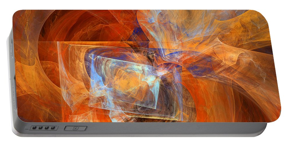Abstract Portable Battery Charger featuring the digital art Incendiary Ammunition Abstract by Georgiana Romanovna