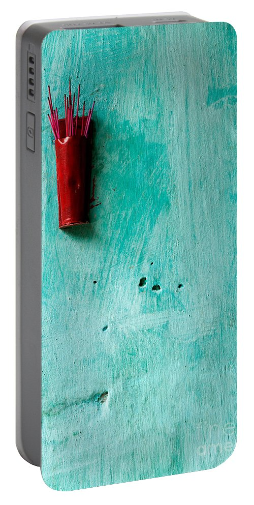 Red Portable Battery Charger featuring the photograph Incense 04 by Rick Piper Photography