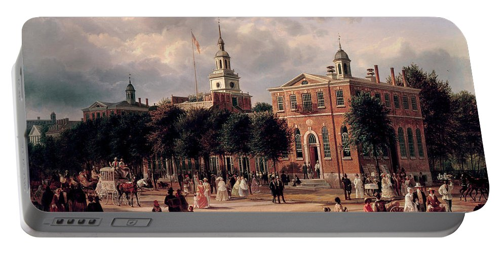 Ferdinand Richardt Portable Battery Charger featuring the painting Independence Hall In Philadelphia by Ferdinand Richardt