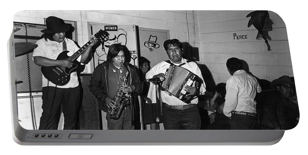 Indian Bar The Lucky Dollar Tohono O'odham Chicken Scratch Band South Tucson Arizona 1975 Portable Battery Charger featuring the photograph Indian Bar The Lucky Dollar Tohono O'odham Chicken Scratch Band South Tucson Arizona 1975 by David Lee Guss