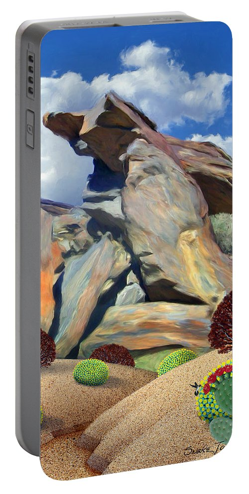 Nature Portable Battery Charger featuring the painting Indian Canyon Rocks by Snake Jagger
