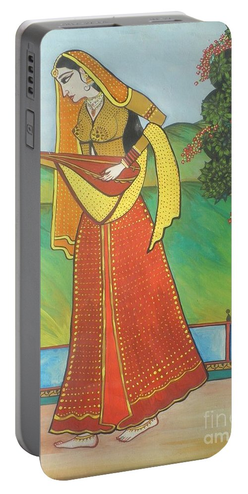 Indian Lady Portable Battery Charger featuring the painting Indian Lady Playing Ancient Musical Instrument by Artist Nandika Dutt