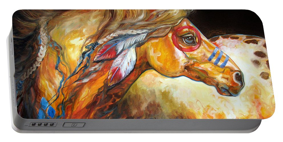 Horse Portable Battery Charger featuring the painting Indian War Horse Golden Sun by Marcia Baldwin