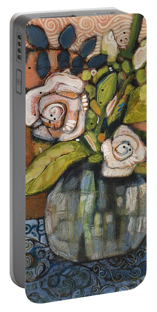 Jen Norton Portable Battery Charger featuring the painting Indigo And Orange Floral by Jen Norton