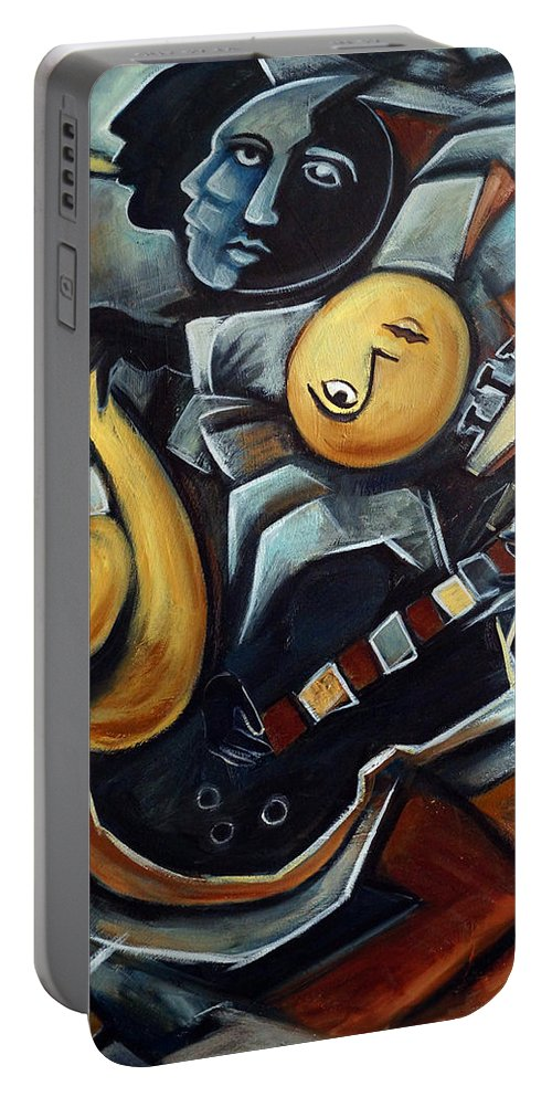 Cubism Portable Battery Charger featuring the painting Indigo Blues by Valerie Vescovi