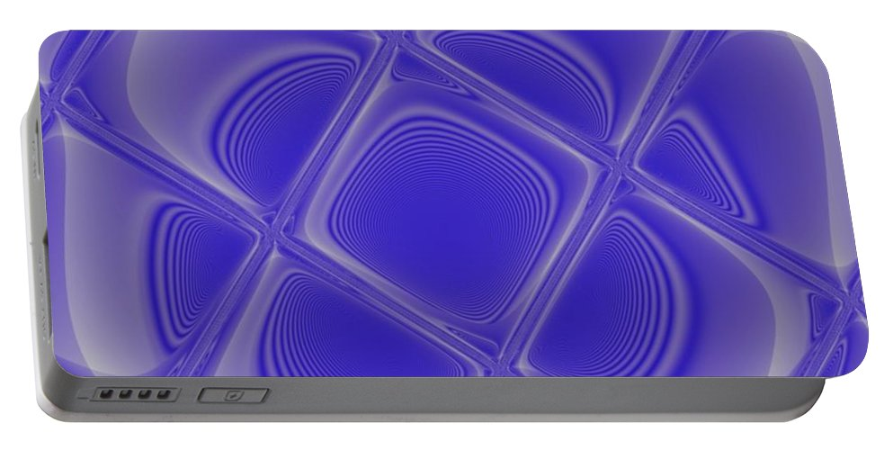 Geometric Portable Battery Charger featuring the digital art Indigo Petals Morphed by Pharris Art