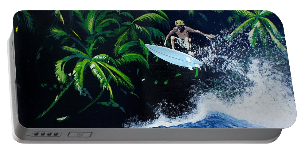 Surfing Portable Battery Charger featuring the painting Indonesia by Chikako Hashimoto Lichnowsky