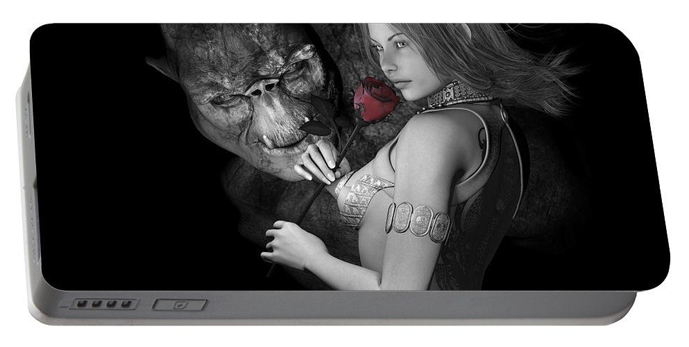 Art Portable Battery Charger featuring the digital art Infatuated Roses by Alexander Butler