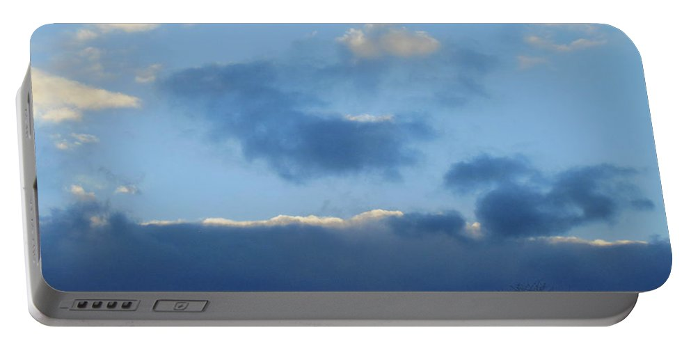 Sky Portable Battery Charger featuring the photograph Inkblot Clouds 1 by Tara Shalton