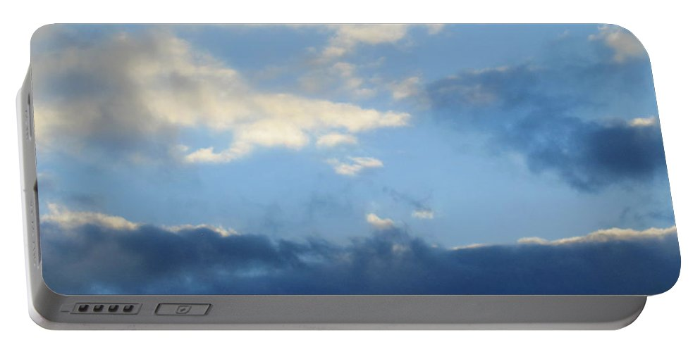 Sky Portable Battery Charger featuring the photograph Inkblot Clouds 2 by Tara Shalton