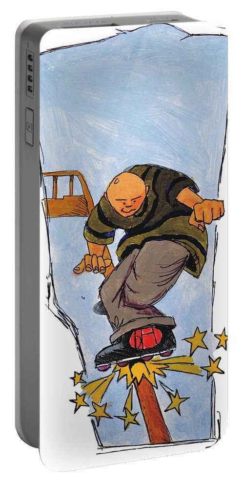 Mike Jory Rollerblades Portable Battery Charger featuring the painting Inline Skates Rail Grind by Mike Jory