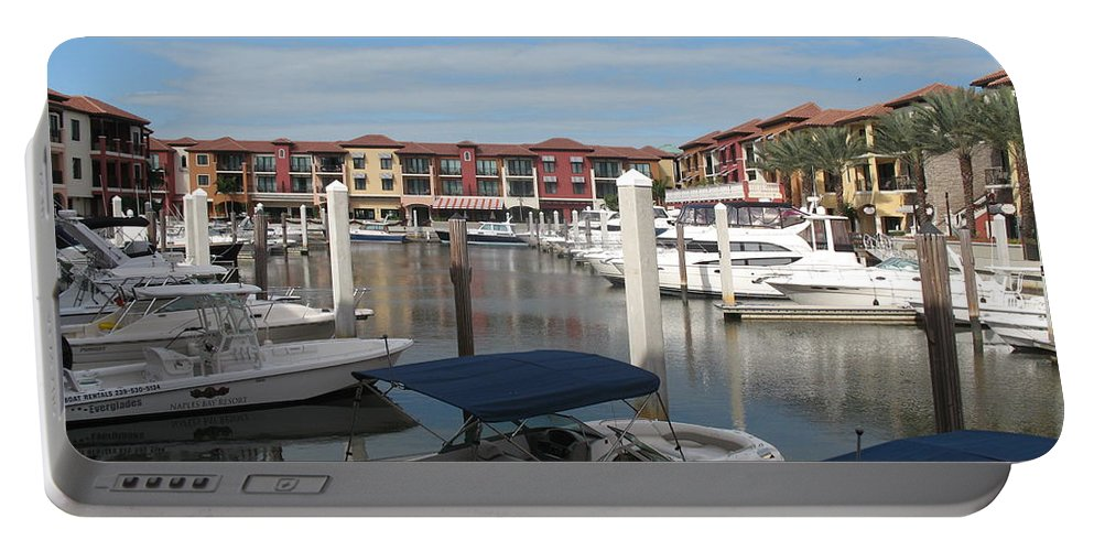 Buildings Portable Battery Charger featuring the photograph Inner Harbor - Naples by Christiane Schulze Art And Photography