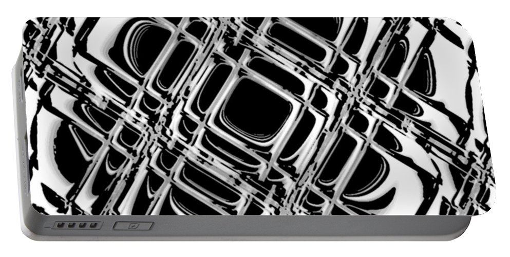 Black And White Portable Battery Charger featuring the digital art Inner Workings by Pharris Art