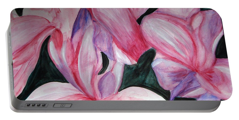 Flower Water Color Abstract Portable Battery Charger featuring the painting Innocence by Yael VanGruber
