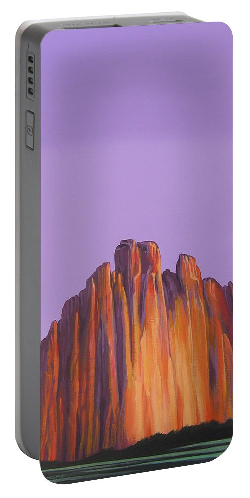 Landscape Portable Battery Charger featuring the painting Inscription Rock by Hunter Jay