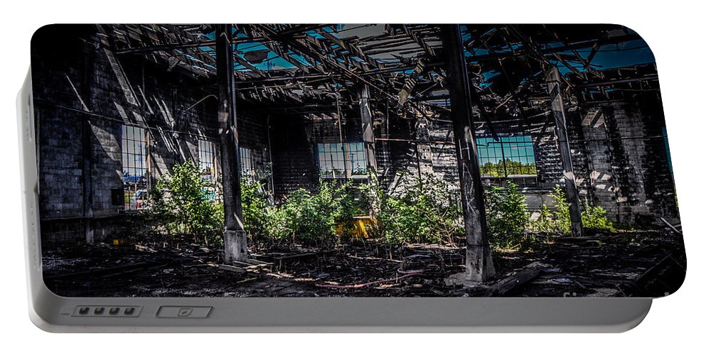 Steel Portable Battery Charger featuring the photograph Inside An Abandon Building by Ronald Grogan
