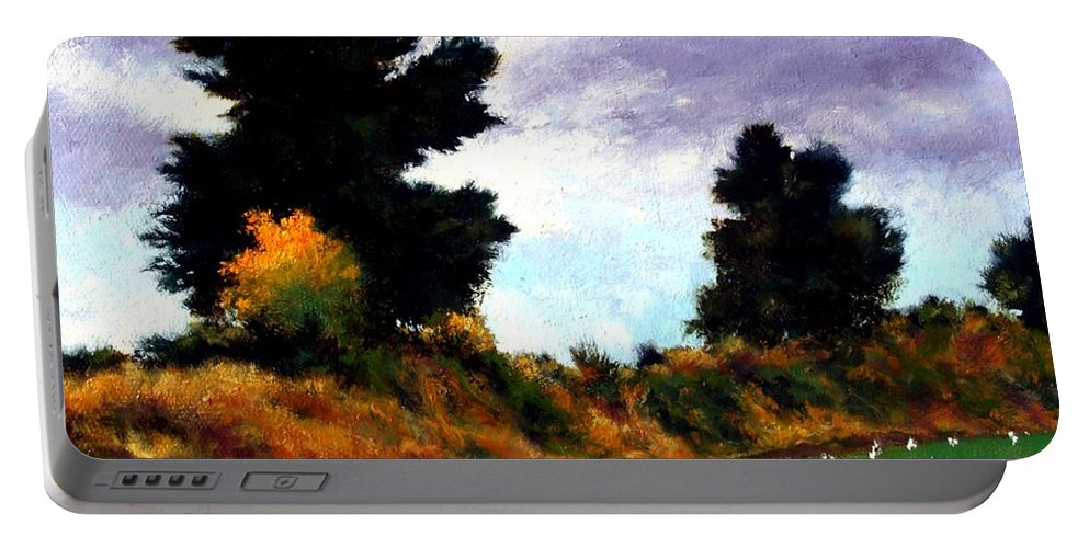 Landscape Portable Battery Charger featuring the painting Inside The Dike by Jim Gola