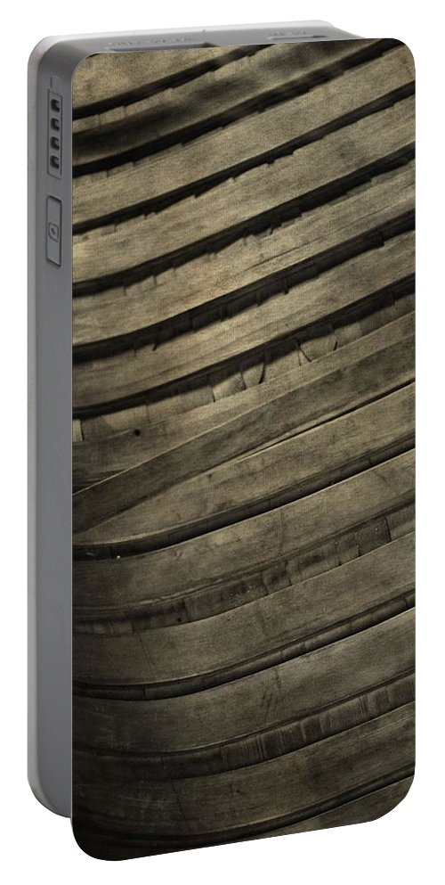 Inside The Wooden Canoe Portable Battery Charger featuring the photograph Inside The Wooden Canoe by Dan Sproul