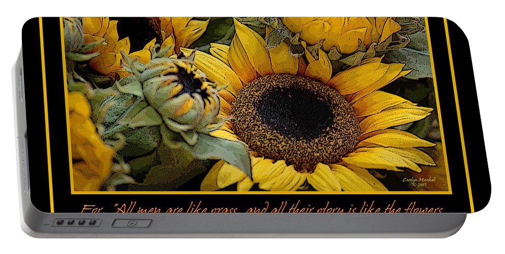 Sunflowers Portable Battery Charger featuring the photograph Inspirational Sunflowers by Carolyn Marshall