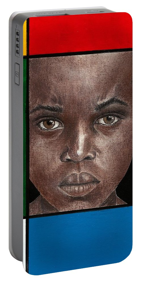 African American Artwork Portable Battery Charger featuring the mixed media Intense by Edith Peterson