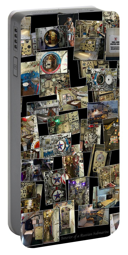 Submarine Portable Battery Charger featuring the photograph Interior Russian Submarine Vert Collage by Thomas Woolworth