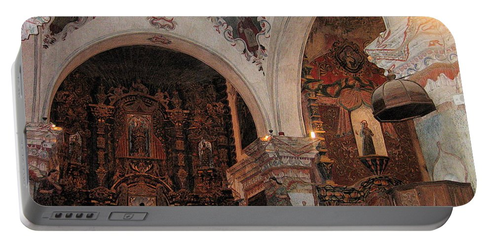 Interior San Xavier Mission Tucson Arizona Portable Battery Charger featuring the photograph Interior San Xavier Mission Tucson Arizona 2006 by David Lee Guss