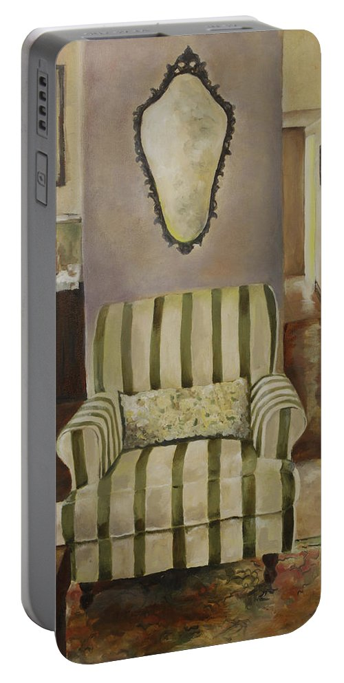 Interior Portable Battery Charger featuring the painting Interior With Chair by Jolante Hesse
