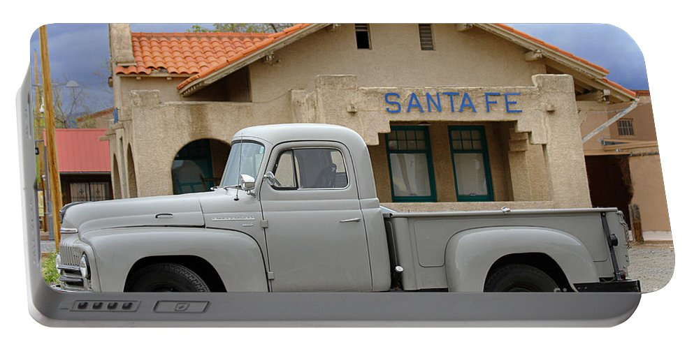International Harvester Portable Battery Charger featuring the photograph International Harvester L-110 Truck At Santa Fe Train Depot by Catherine Sherman
