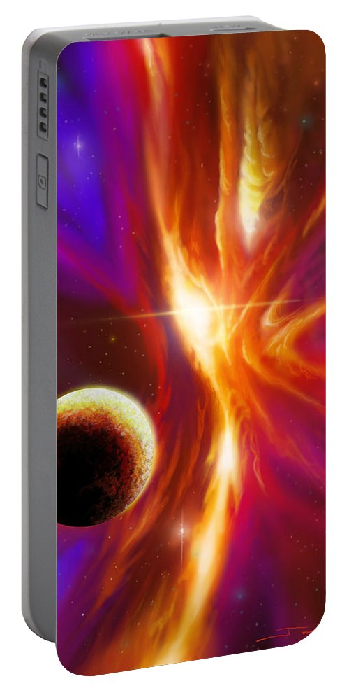Jameshillgallery.com Portable Battery Charger featuring the painting Intersteller Supernova by James Christopher Hill