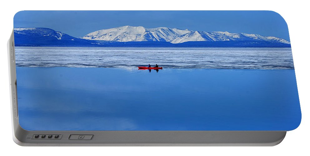Yellowstone Portable Battery Charger featuring the photograph Into The Blue by Greg Norrell