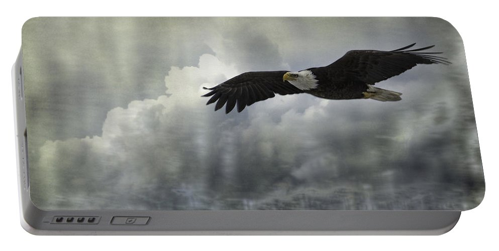 American Adult Bald Eagle Portable Battery Charger featuring the photograph Into The Heavens by Thomas Young
