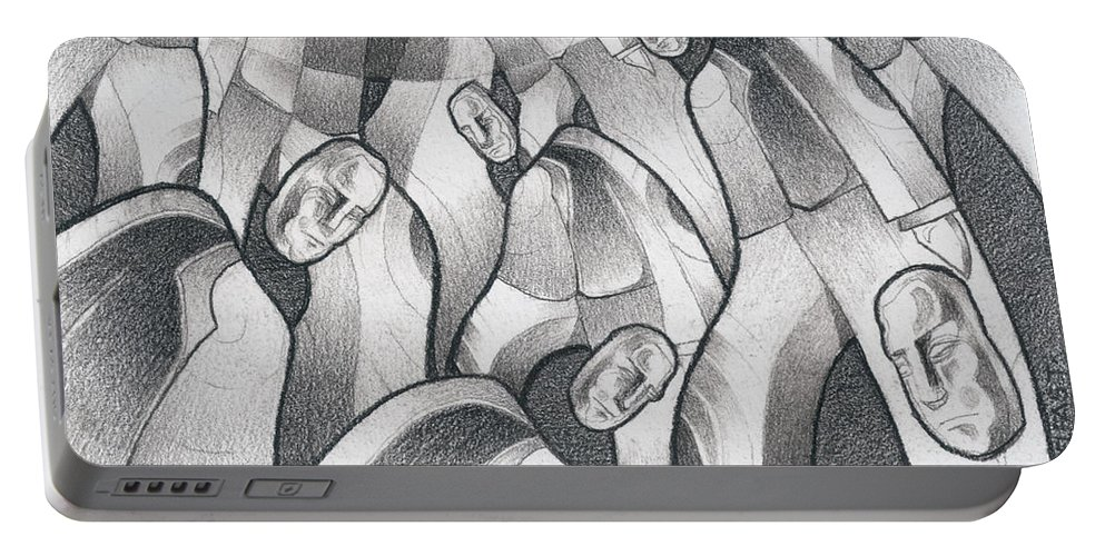 Mouseizm Portable Battery Charger featuring the drawing Into The Portal by Myron Belfast