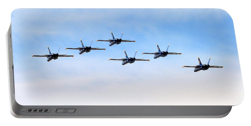 Blue Angels Portable Battery Charger featuring the photograph Into The Sunset by Bob Hislop
