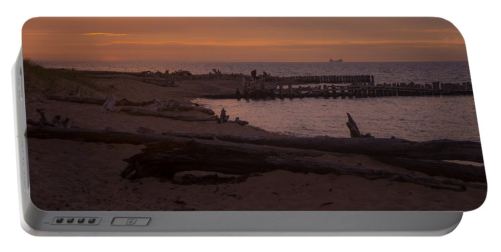 Ships Portable Battery Charger featuring the photograph Into The Sunset by Gales Of November