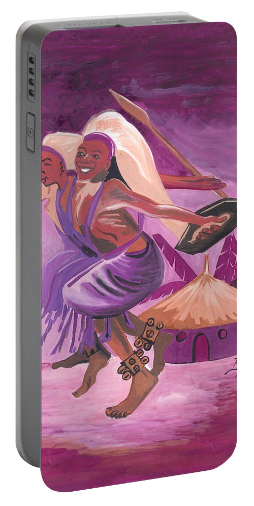 Barry Art Portable Battery Charger featuring the painting Intore Dance From Rwanda by Emmanuel Baliyanga