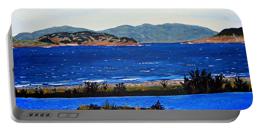 Islands Portable Battery Charger featuring the painting Iona formerly Rams Islands by Barbara Griffin