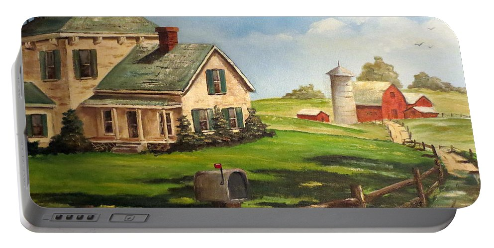 Farm Painting Portable Battery Charger featuring the painting Cherokee Iowa Farm House by Lee Piper