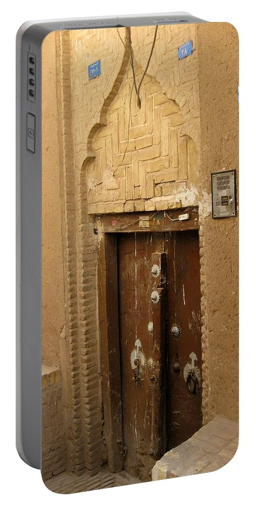 Door Portable Battery Charger featuring the photograph Iran Yazd Door by Lois Ivancin Tavaf