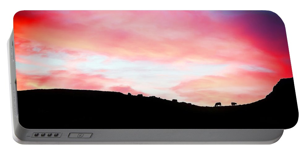 Sunset Portable Battery Charger featuring the painting Ireland - Donegal by Alex Art and Photo