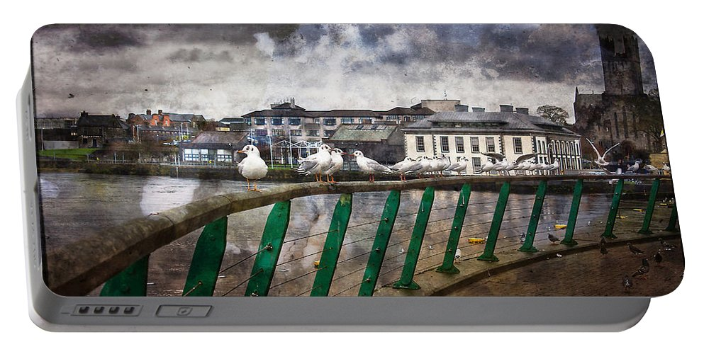 Seascape Portable Battery Charger featuring the painting Ireland - Limerick by Alex Art and Photo