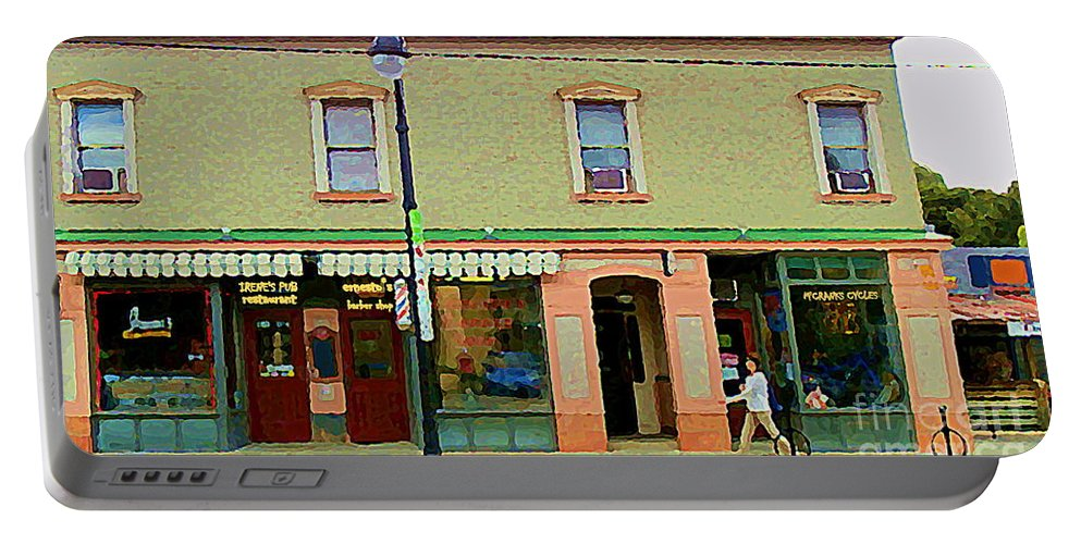 Ottawa Portable Battery Charger featuring the painting Irenes's Pub And Ernesto's Barber Shop Bank St Shops In The Glebe Paintings Of Ottawa Cspandau by Carole Spandau