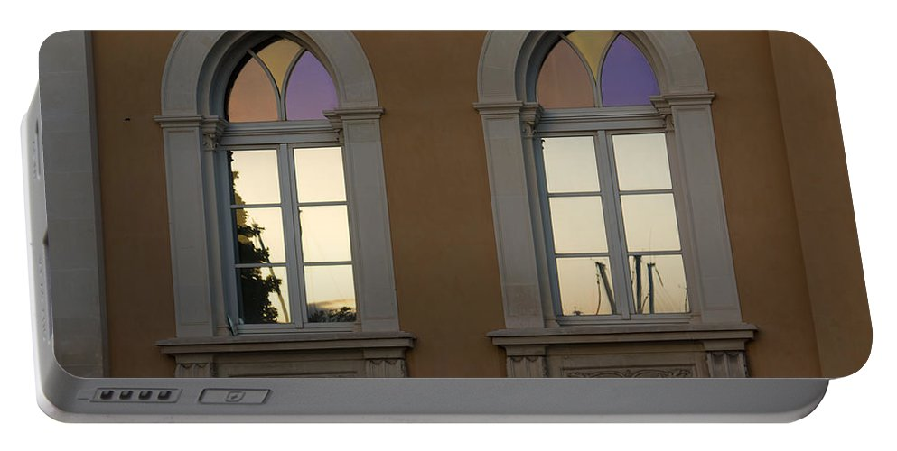 Iridescent Portable Battery Charger featuring the photograph Iridescent Pastels At Sunset - Syracuse Arched Windows by Georgia Mizuleva