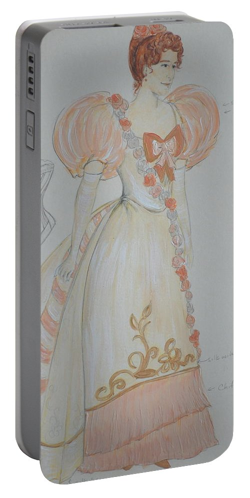 Costume Design Portable Battery Charger featuring the mixed media Irina From 'the Three Sisters' by Jennifer Christenson