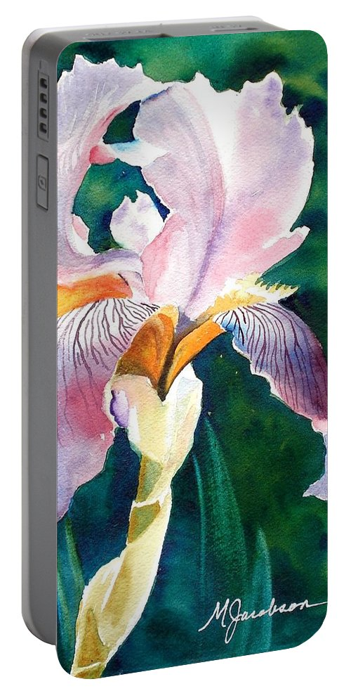 Iris Portable Battery Charger featuring the painting Iris 1 by Marilyn Jacobson