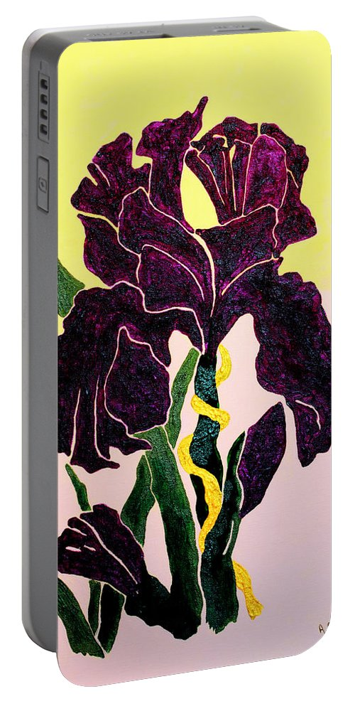Iris Portable Battery Charger featuring the painting Iris by Andrew Petras