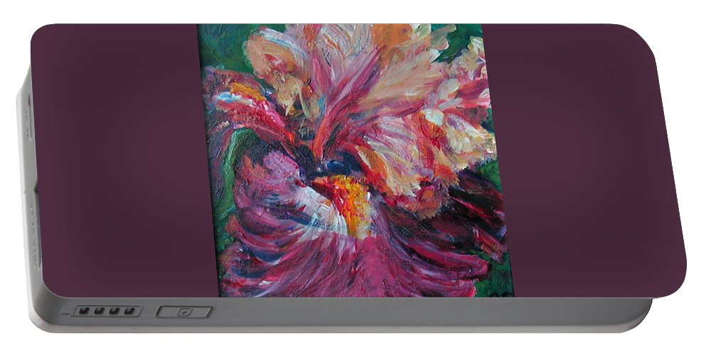 Impressionism Portable Battery Charger featuring the painting Iris - Bold Impressionist Painting by Quin Sweetman